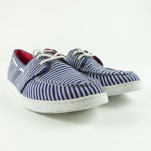 TOMS Men Navy Stripe Culver Boat Shoes R3S4